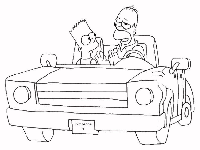 Homer und Bart im Auto