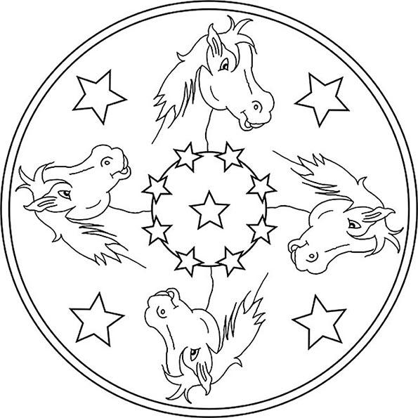 mandala von pferde 1 ausmalen