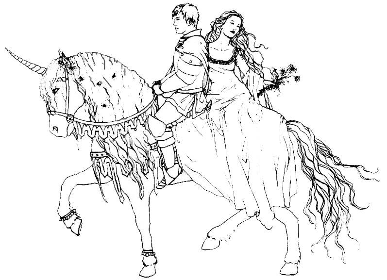 Prinz und Prinzessin auf einem Einhorn