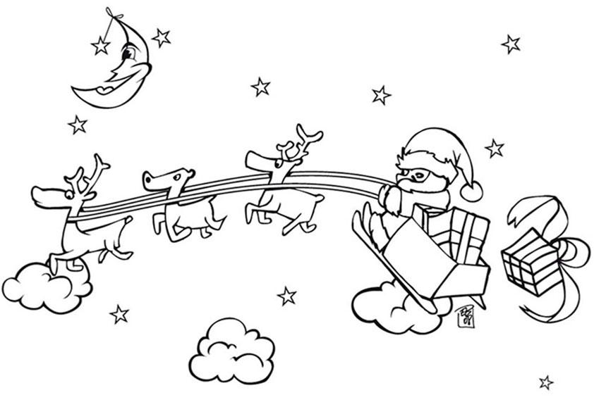 Nikolaus über den Himmel mit seinen Rentieren