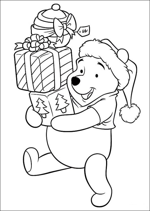 winnie mit Weihnachtsgeschenk